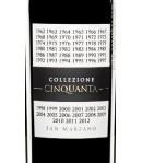 Collezione Cinquanta Vino Rosso d'Italia San Marzano etichetta